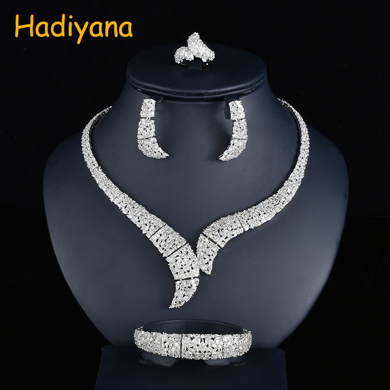 Hadiyana Fashion Geometric Bridal Jewelry Set For Women Clear Cubic Zincons Necklace Earrings Bracelet Ring Sets Jewelry CN742 viennois new blue crystal fashion rhinestone pendant earrings ring bracelet and long necklace sets for women jewelry sets