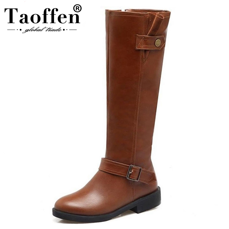 Taoffen Women Knee High Boots Zipper Warm Fur Motorocycle Shoes Round Toe Winter Flats Boots Women Thick Heel Shoes Size 33-43