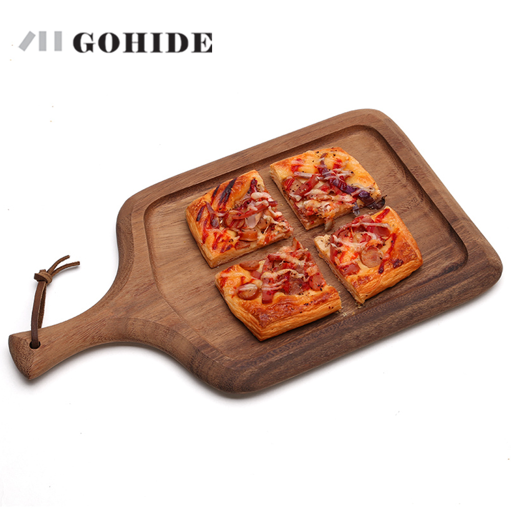 JUHD A Wood Cake Plate Wood Pizza Plate Baby Food Supplement Bread Board Mini Chopping Board Deli Knife Plate Kitchen Supplies