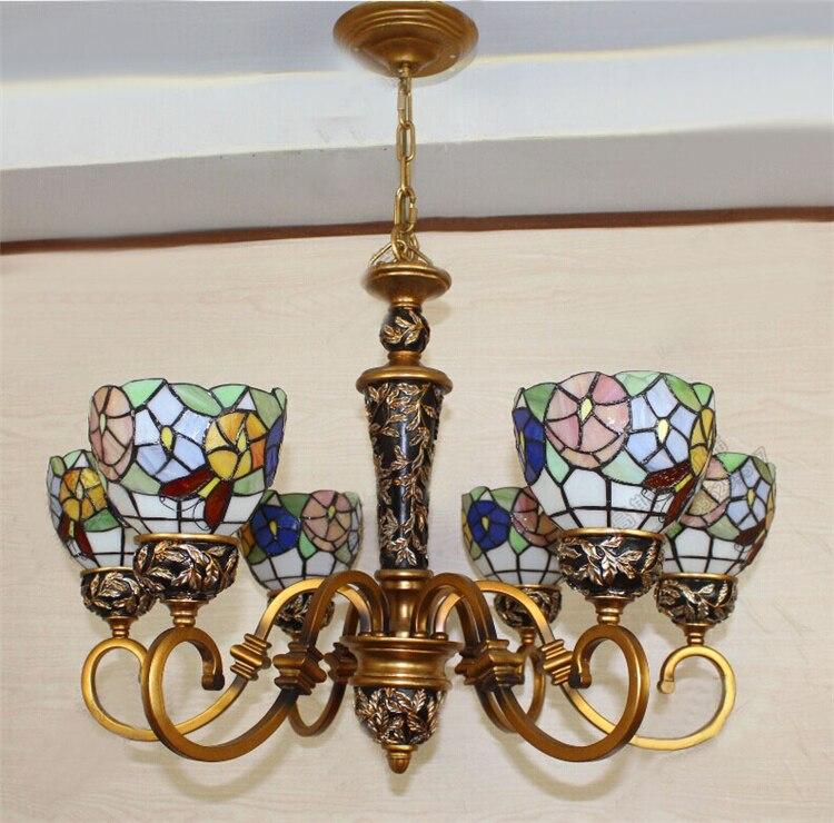 European Vintage Glass Pendant Light Artistic Pastoral Simplicity Tiffany Bar Cafe Lamp Restaurant Pendant Light 6 Lights