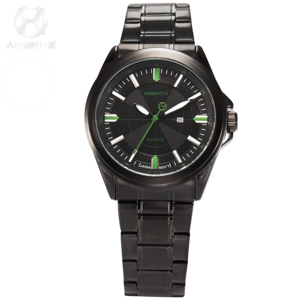 AGENTX Brand Men Quartz Black Steel Band Relogio Masculino Date Display Sport Calendar Watch Wrist Watches Gift Box / AGX122
