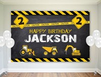 custom Construction Birthday Digger Truck backdrop High quality Computer print party background