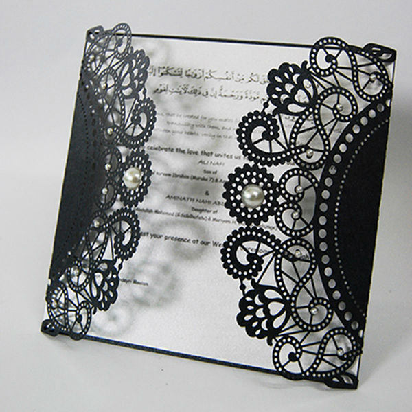 Laser cut pocket lace royal invitation card design IC1202 07 a-in Cards & Invitations from Home ...