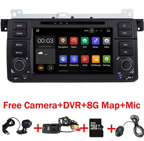 4 ядра 1024x600 Pure 2 DIN Android 7.1 автомобильный DVD для BMW E46 M3 Wi-Fi 3G Bluetooth Радио RDS usb sd руль Бесплатная камеры