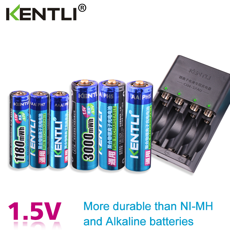 KENTLI 6 pièces 1.5 v aa piles aaa Li-ion Rechargeable li-polymère batterie Au Lithium + 3 emplacements AA AAA lithium li-ion Chargeur Intelligent