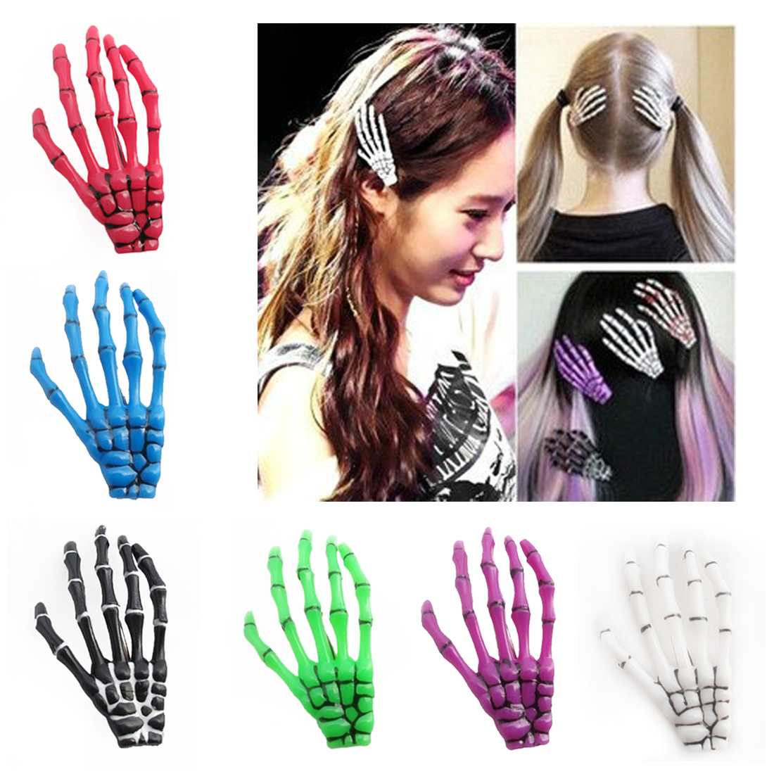Design Gift Zombie Ghost Skeleton Claw Hairpin Halloween Hair Clips Hand Bone