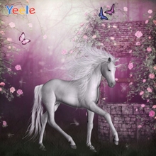Yeele Unicorn Flowers Butterfly Dreamy Children Birthday Party Photography Background Girl Photographic Backdrop Photo Studio