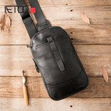 AETOO موضة جلد طبيعي حقائب كروسبودي الرجال حقيبة ساعي عادية صغيرة العلامة التجارية مصمم الذكور حقيبة كتف الصدر