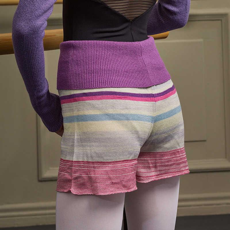 Sansha หญิงเต้นรำบัลเล่ต์ถักกางเกงขาสั้นอะคริลิค Multicolor เสื้อกันหนาวเสื้อผ้า Dancewear KC0612C