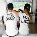 Moda verão Casal Engraçado Camisas de T Bom Mr Mrs Vida letra Impressa Algodão O-pescoço T-shirt Fresco de Manga Curta Amantes Causais roupas