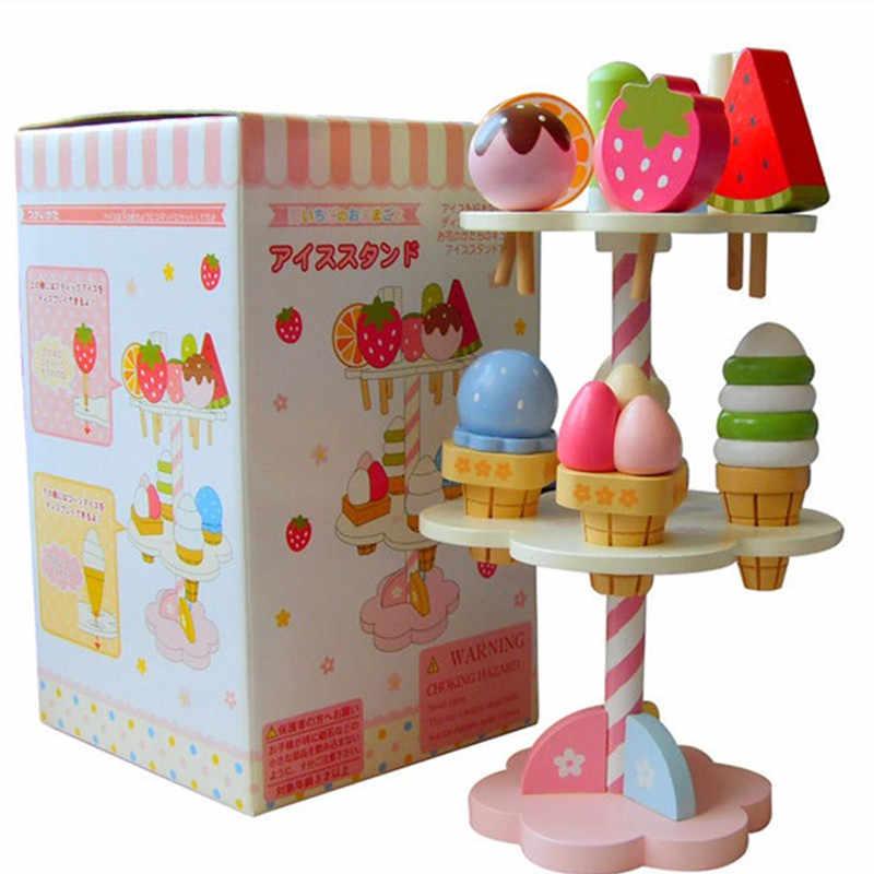 ของเล่นเด็กใหม่จำลองแม่เหล็กไอศกรีมไม้ของเล่น Pretend Play ครัวอาหารเด็กทารกของเล่นอาหารวันเกิดคริสต์มาสของขวัญ