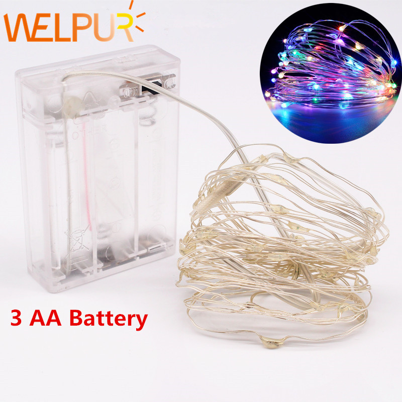 LED String 3 AA Battery Powered Decorative Silver String Christmas <font><b>Lights</b></font> 2M/5M/10 <font><b>Warm</b></font> <font><b>White</b></font> <font><b>White</b></font> for Christmas Wedding Party