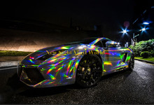 Best Quality Iridescent Silver Laser Chrome Vinyl Film Holographic Kaleidoscope Car Wrap Bubble Free Size:1.50*20M