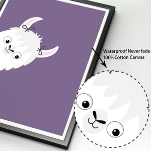 Image 4 - Lama Alpaka Cartoon Tier Kindergarten Drucke Nordic Poster Und Drucke Wand Kunst Leinwand Malerei Wand Bilder Baby Kinder Zimmer Dekor
