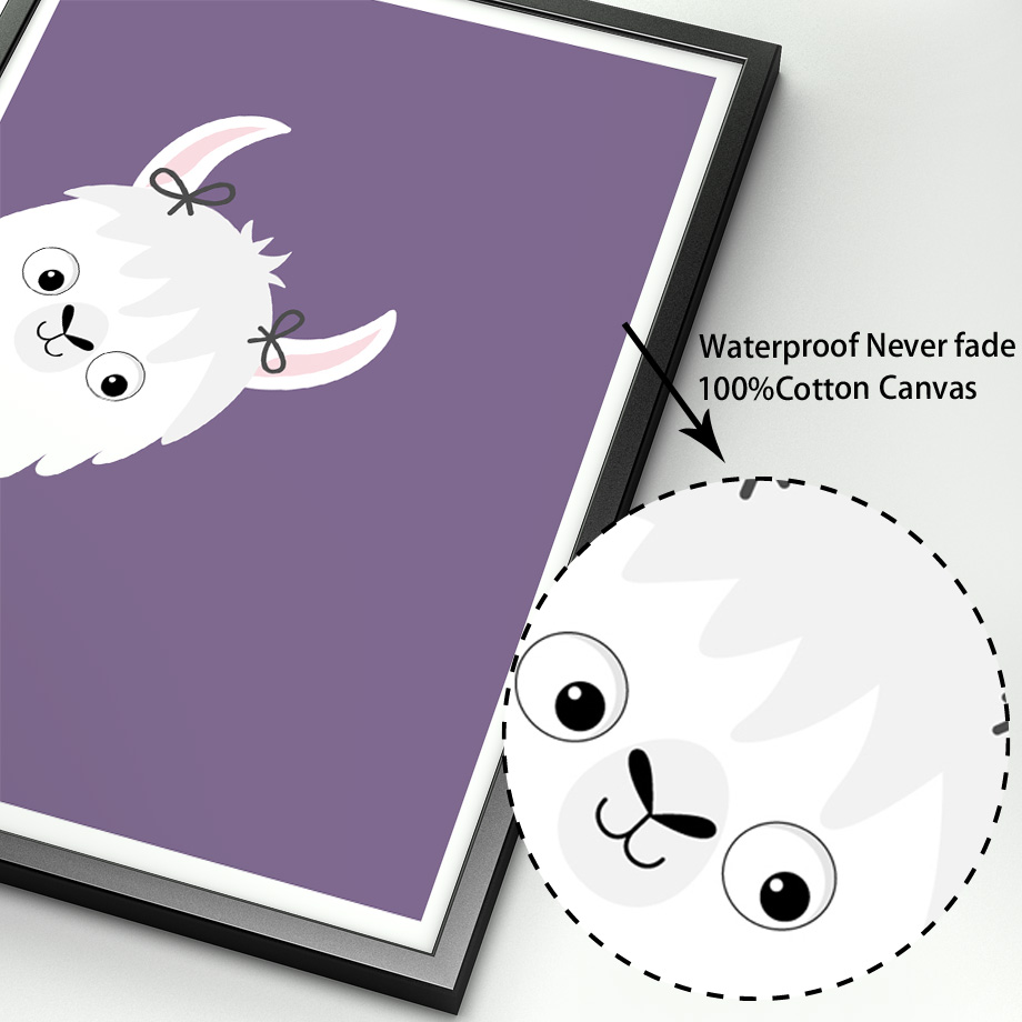 Image 4 - llama Alpaca Cartoon Animal Nursery Prints Nordic Posters And Prints Wall Art Canvas Painting Wall Pictures Baby Kids Room Decor-in Painting & Calligraphy from Home & Garden