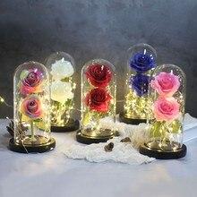 Светильник с розами в бутылке, настольный Ночной светильник, красота и чудовище, романтический подарок, прикроватная деревянная настольная лампа, романтический Валентин