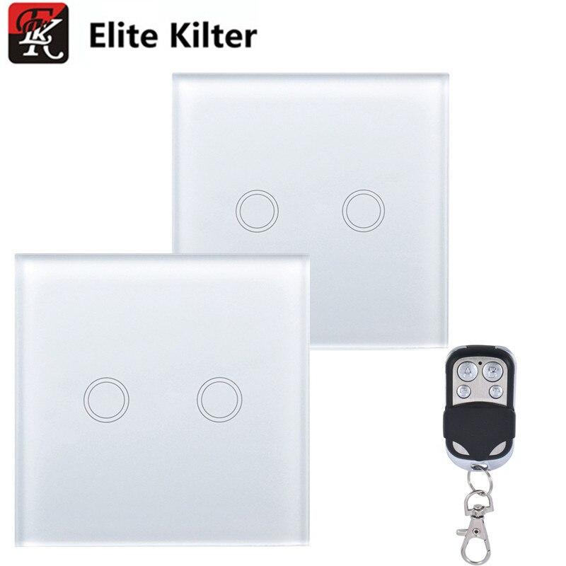 Elite Kilter EU/UK Standard 2 gangs 2 voies commutateur tactile simple FireWire avec petit contrôleur