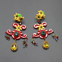 European and American fashion models big personality cross section set inlaid thunders ear earrings 145