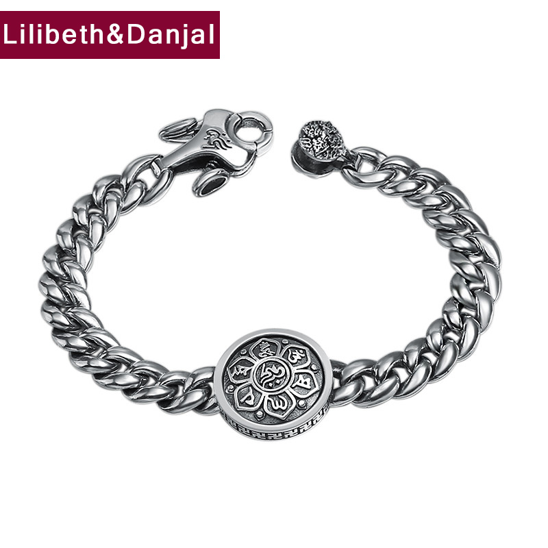 2019 New Couple Bracelet 100% 925 Sterling Silver Jewelry Men Women Buddha Mantra Rotatable Instrument Vajra Bracelet Bangle B372019 New Couple Bracelet 100% 925 Sterling Silver Jewelry Men Women Buddha Mantra Rotatable Instrument Vajra Bracelet Bangle B37