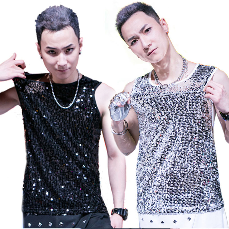 Jazz Dance Shirt Male Black Gold Tops Men Bar Dj Dancers Stage Punk Sequins Vest Hip Hop Sexy Male Singer Show Clothes