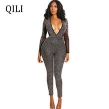 QILI Sexy Deep V Neck Long Sleeve Jumpsuits Women Flash Silk Patchwork Backless Club Skinny