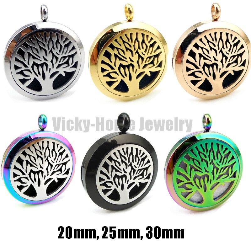 Avec chaîne en argent gratuite arbre de vie (20-30mm) aromathérapie/huiles essentielles collier médaillon diffuseur de parfum en acier inoxydable