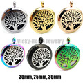 Round Silver Tree of Life (20-30mm) Aromatherapy / Essential Oils Stainless Steel Perfume Diffuser Locket Necklace