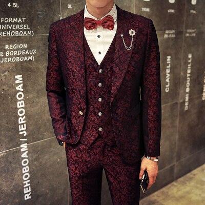 Mens Formal Suits Jacket Wedding Prom Blazer For Men Burgundy Red Floral Jacquard Navy Blazer Man Slim Fit Tweed Jacket 2019