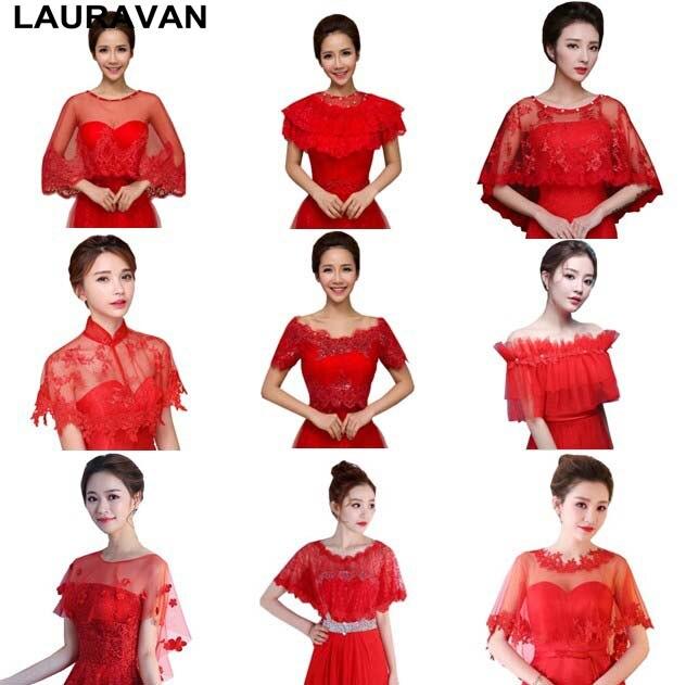 Bridal Bolero Red Lace Tulle Elegant Fashion Collar Sleeve Boleros Cropped Shrug Shawl Wedding Accessories Jackets Bridal Wraps