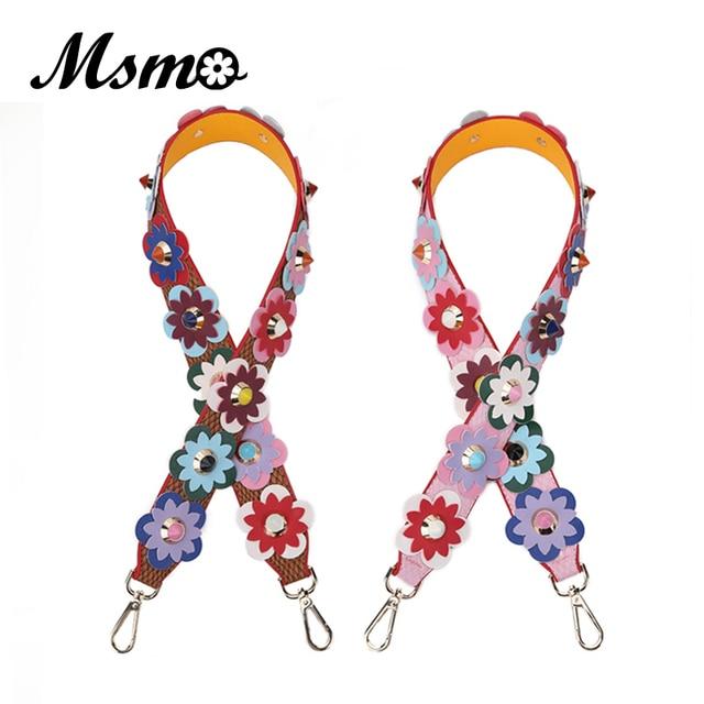 MSMO 2017 Strap you Flower Female handbag belt women bag strap pu leather bag part bolsa accessories Gifts belt M1650