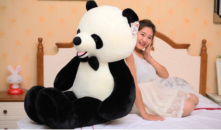 stuffed plush toy huge 140cm bowtie panda doll soft hugging pillow birthday gift b0489 lovely giant panda about 70cm plush toy t shirt dress panda doll soft throw pillow christmas birthday gift x023