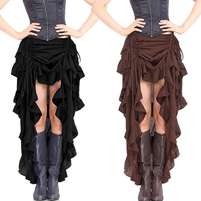 Clubwear Sexy Punk Rock Clothing  Ruffles Long Skirts Women Vintage Gothic Pirate Steampunk Skirt