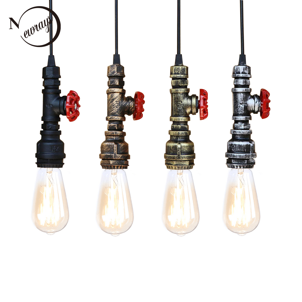 Loft Industrial Iron Water Pipe Steam Punk Vintage Pendant Lamp Cord E27 Led Pendant Lights For Bedroom Bar Restaurant Kitchen