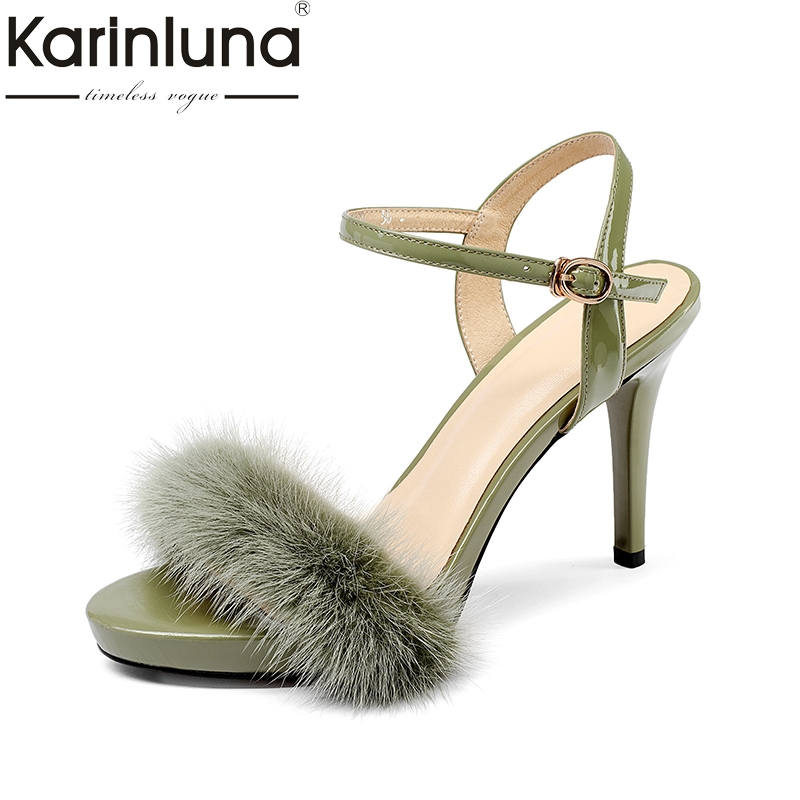 цена KarinLuna 2018 Summer Sexy Genuine Leather Armpit Hair Sandals Shoes Women Thin High Heels Party Wedding Shoes Woman