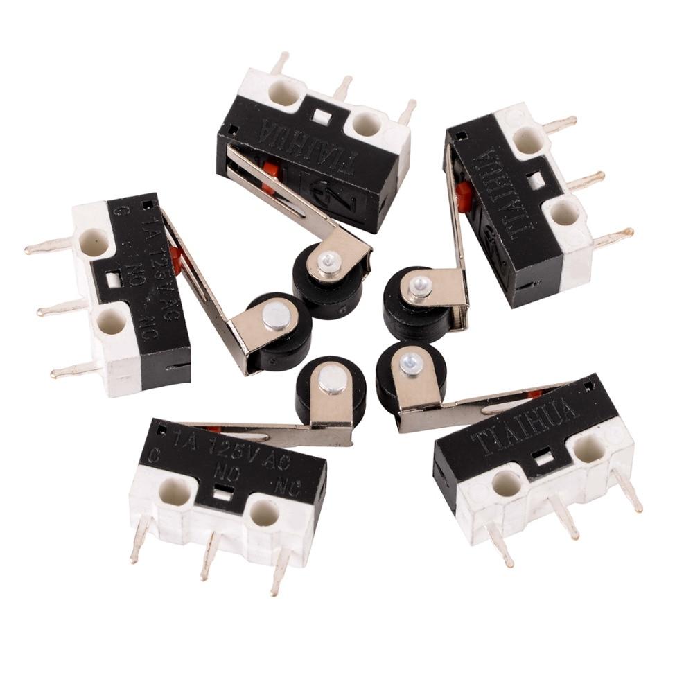 цена на 5pcs Mini Micro Limit Switch Roller Lever Arm Microswitch SPDT Sub Miniature 1A 125V AC