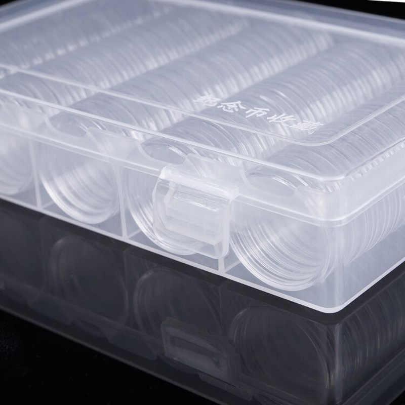 100 Pcs/Kotak Koin Penyimpanan Case Kapsul Plastik Koin Pemegang Wadah Organizer Koleksi Koin Perlengkapan Koleksi Hadiah