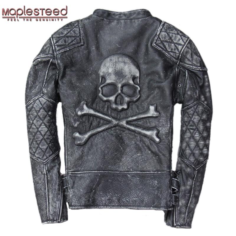 MAPLESTEED Vintage Men Leather Jacket Skull Calfskin Cowhide Motorcycle Jacket Motor Biker Clothing Distressed Leather Coat M135