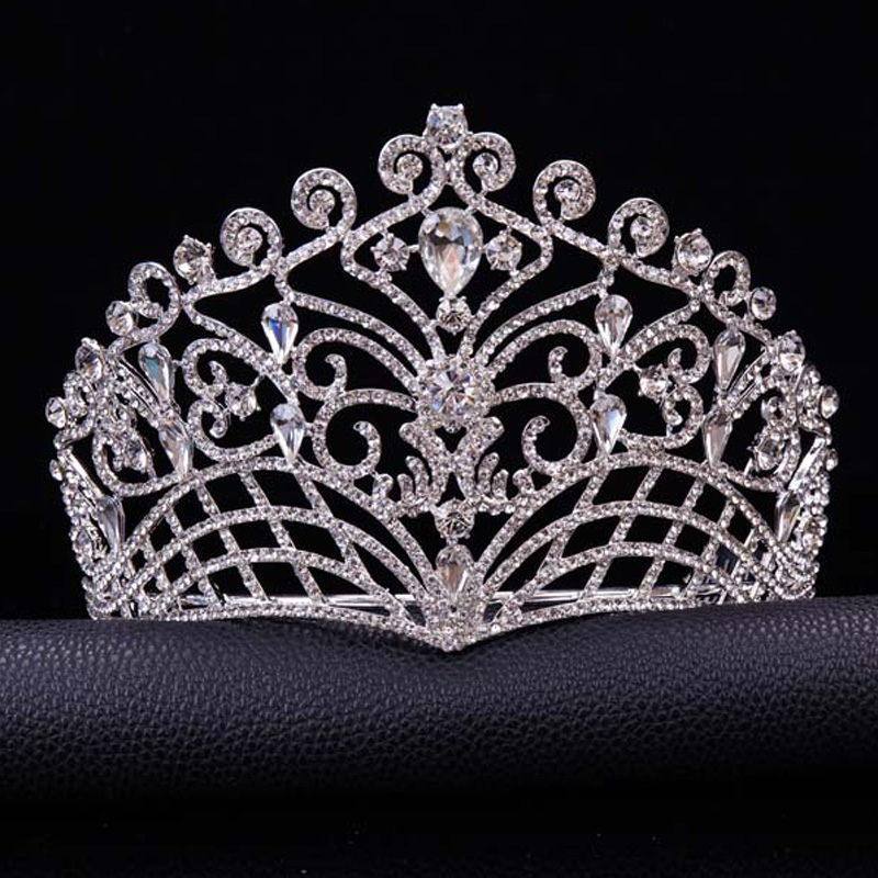 2019 Nya stora europeiska brudbröllop Tiara Crowns silverpläterade österrikiska Crystal Large Queen tiara Wedding Hair Accessories T-002