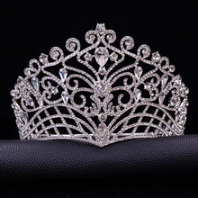 2019 New Big European Bride Wedding Tiara Crowns Silver Plated Austrian Crystal Large Queen tiara Wedding Hair Accessories T-002