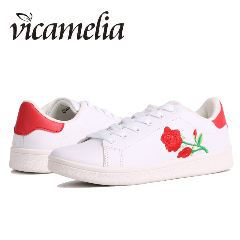 Vicamelia 2017 Fashion Women Sneakers Autumn Embroider Rose White Flat Shoes for Woman Lace up Ladies Casual Shoes Footwear 065 glowing sneakers usb charging shoes lights up colorful led kids luminous sneakers glowing sneakers black led shoes for boys