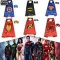 Máscara do homem aranha para o menino homem De Ferro Capitão América Superman Batman Manto Robin Traje Cosplay para crianças Máscara + Manto 70*70 cm
