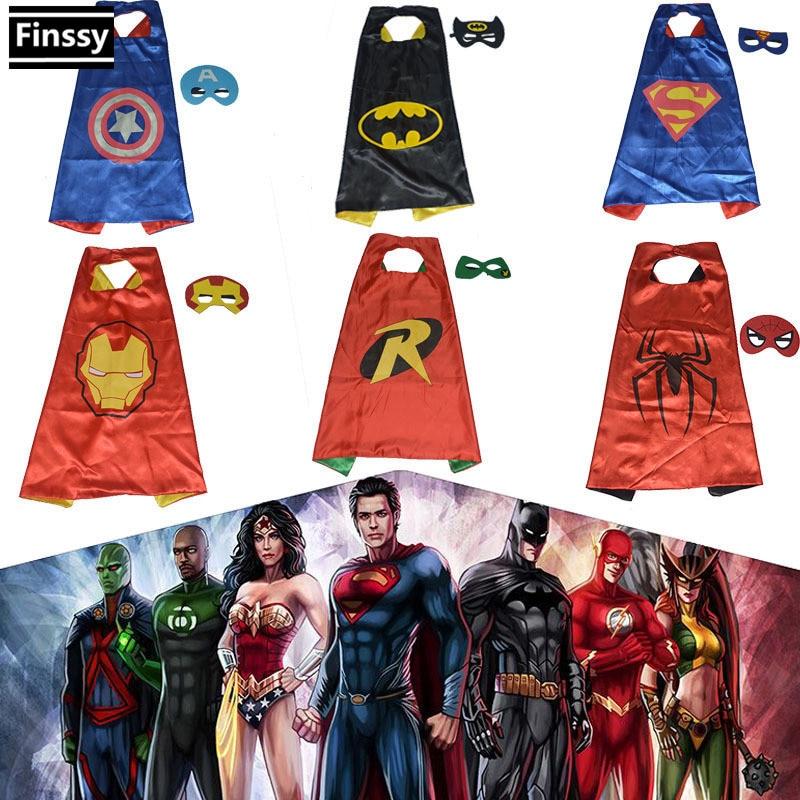 Spiderman Mask <font><b>for</b></font> boy Superman <font><b>Batman</b></font> Cloak Robin Iron man Captain America <font><b>Cosplay</b></font> <font><b>Costume</b></font> <font><b>for</b></font> <font><b>kids</b></font> Mask + Cloak 70*70cm