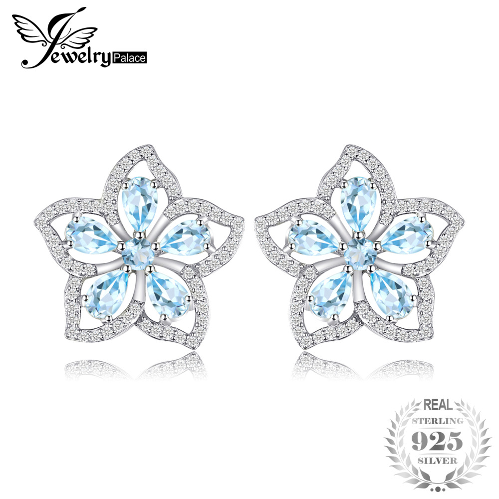 JewelryPalace Flower 1.9ct Genuine Sky Blue Topaz Stud Earrings 925 Sterling Silver Jewelry Fine Earrings Free Shipping For Girl jewelrypalace halo 2 6ct swiss blue topaz stud earrings 925 sterling silver fine jewelry new earrings for women party gift