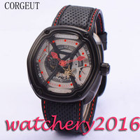 O mais digno de coleção de Luxo Corgeut 46mm mãos Mostrador Cinza vermelho preto PVD caso Miyota movimento Automático dos homens relógios de pulso