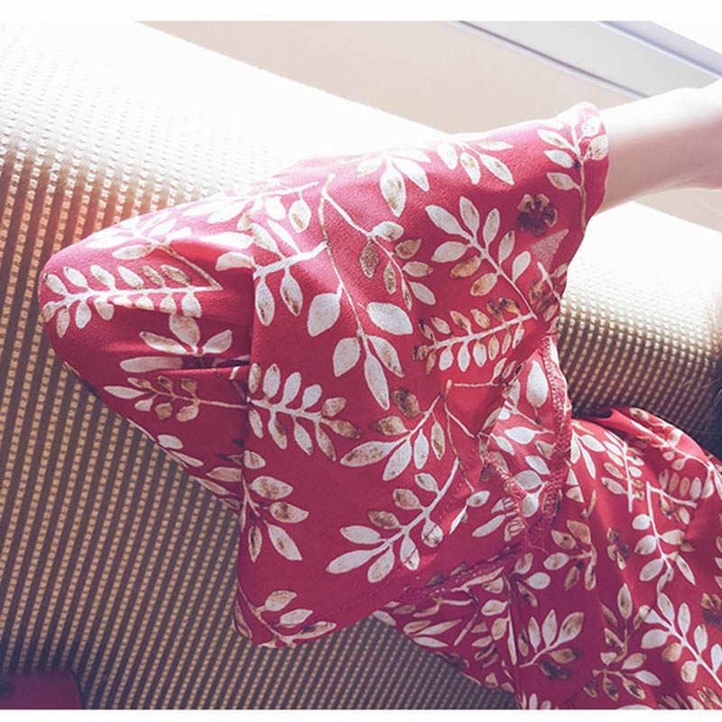 Mishow الأزهار قميص المرأة الصيف الخريف 2018 جديد الإناث الأحمر مضيئة الأكمام قمم طويلة الأكمام الخامس الرقبة بلوزة شيفون MX17A4805