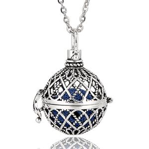 Pendant Women Necklace Mexico Lava-Rock Bola Silver Fragrance Copper with 1PC Diffuser