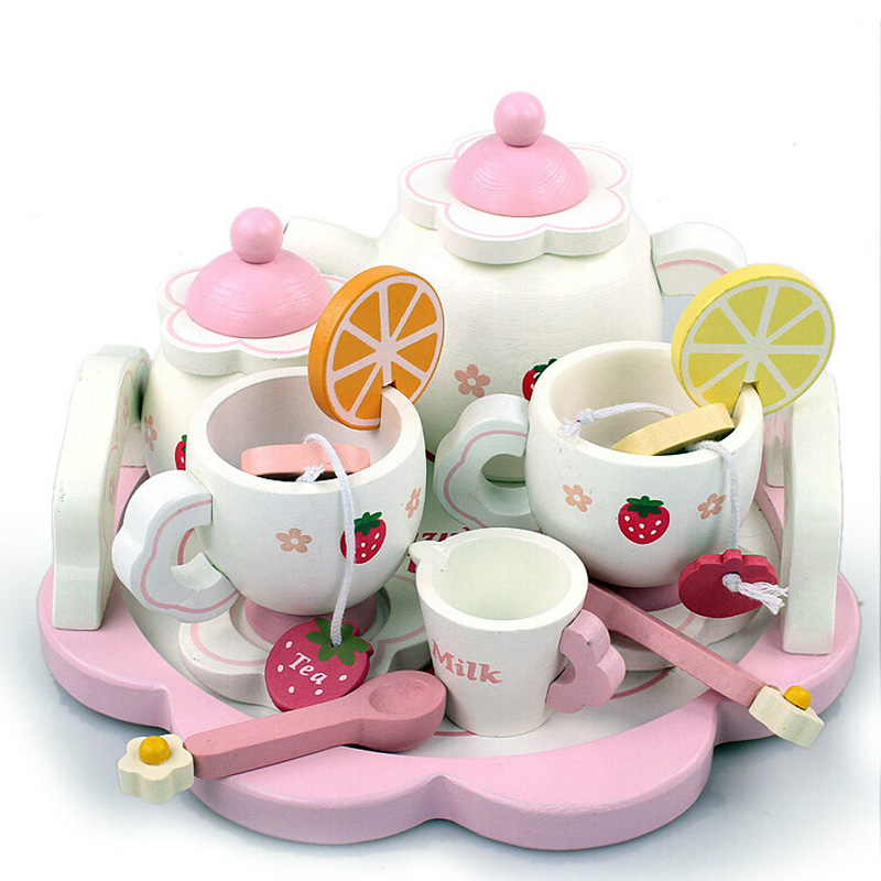 Kids Wooden Tea Set Toy Furniture Toy Realistic Dollhouse Kitchen Toys Pink Sweet Strawberry Pretend Play Parent-Child Games0.8k