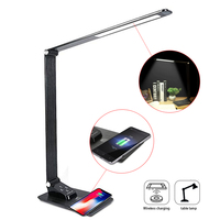 QI Wireless Charger With LED Table Lamp USB Charging Port For Mobile Phone Charging Touch Switch Multi Function Reading Light