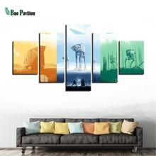 Modular Pictures Canvas Painting Wall Art Prints Poster Home Decoration 5 Panel Movie Star Wars Fashion For Living Room Framed