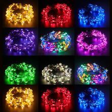 10 шт. Свадебная вечеринка Корона светодиодный свет повязка на голову венок цветок лента для волос светодиодный гирлянды для украшения